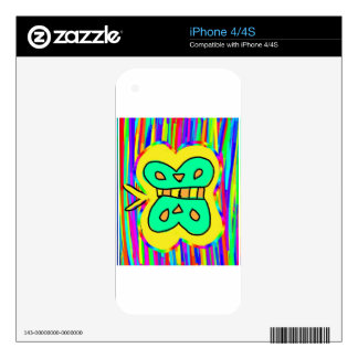 yellow butterfly with colors in the background decals for iPhone 4S