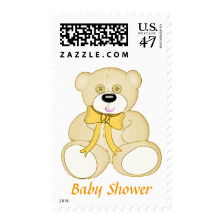 Yellow Button Eyed Teddy Bear Baby Shower Postage