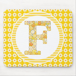 Yellow Button Letter F Mouse Pad