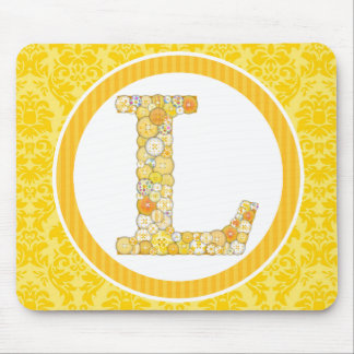 Yellow Button Letter L Mouse Pad