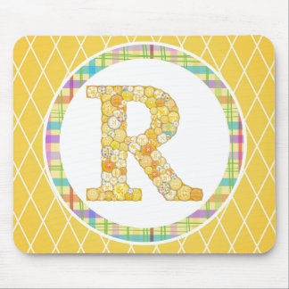 Yellow Button Letter R Mouse Pad