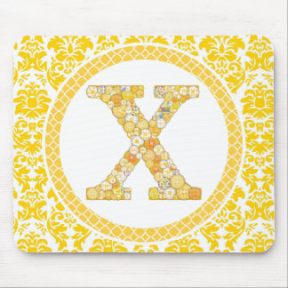 Yellow Button Letter X Mouse Pad