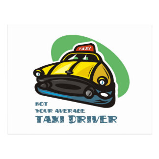 Yellow cab cartoon: Not your average taxi driver Postcard