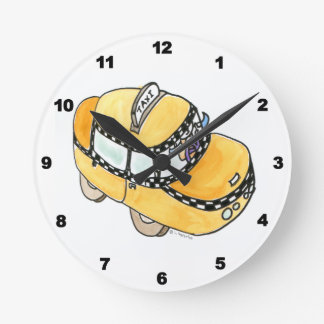 Yellow Cab Round Clock