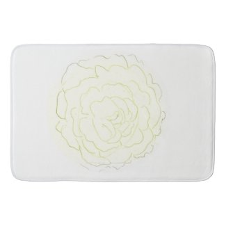 Yellow Cabbage Rose Bath Mat