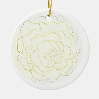 Yellow Cabbage Rose Ceramic Ornament
