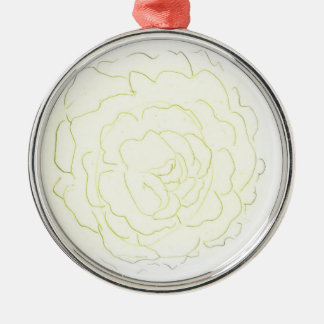 Yellow Cabbage Rose Metal Ornament