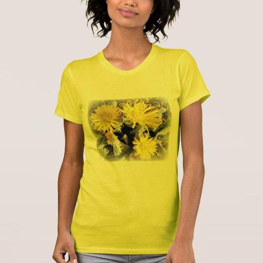 Yellow Cactus Blooming Flowers Tees