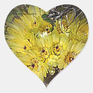 Yellow Cactus Blooms Heart Sticker