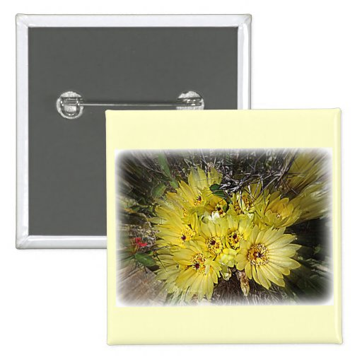Yellow Cactus Blooms Pinback Buttons