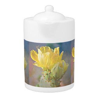 Yellow Cactus Blooms Tea Pot