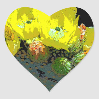 YELLOW CACTUS BLOSSOMS HEART STICKER