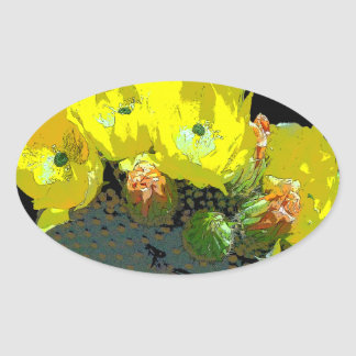 YELLOW CACTUS BLOSSOMS OVAL STICKER