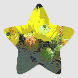 YELLOW CACTUS BLOSSOMS STAR STICKER