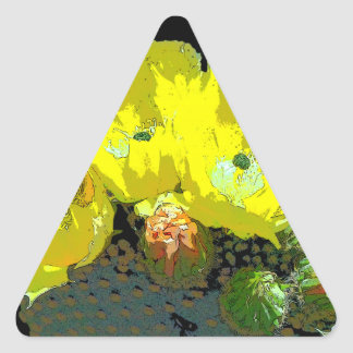 YELLOW CACTUS BLOSSOMS TRIANGLE STICKER