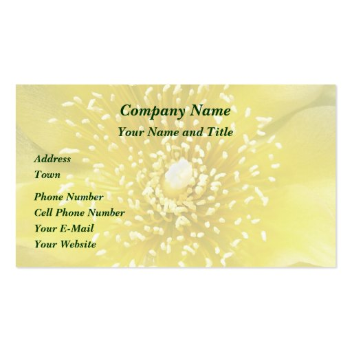 Yellow Cactus Flower Business Card Template