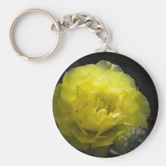 Yellow Cactus Flower in the Dark Keychain