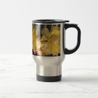 Yellow cactus flower travel mug