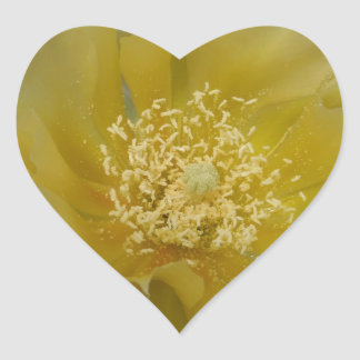 Yellow Cactus In Bloom Heart Sticker