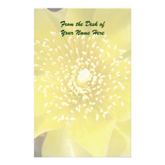 Yellow Cactus Prickly Pear Flower Stationery