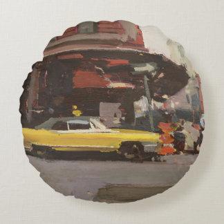 Yellow Cadillac 2012 Round Pillow