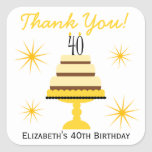 Yellow Cake 40th Birthday Party Favor Stickers