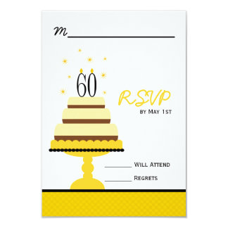 Yellow Cake 60th Birthday Party RSVP Response Card