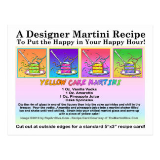 Yellow Cake Martini Recipe Card Postcard