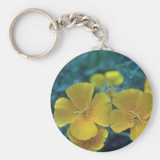yellow California Poppy (Eschscholzia Californica) Basic Round Button Keychain