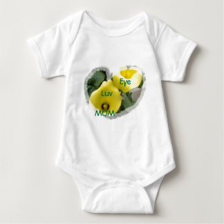 Yellow Calla Lilies and Hearts Baby Bodysuit