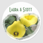 Yellow Calla Lilies and Hearts Round Stickers