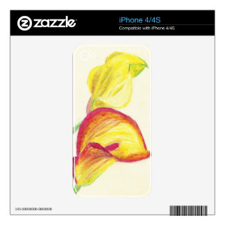 Yellow Calla Lilies Decal For iPhone 4