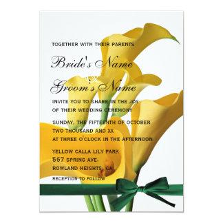 Yellow Calla Lilies Elegant Wedding Invitation