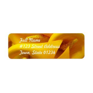 Yellow Calla Lily Mailing Label Return Address Label