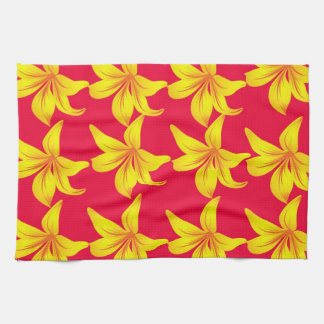 Yellow Callily Blossoms in Red Kitchen Towel