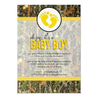 Yellow - Camo Baby Boy Shower Invitation