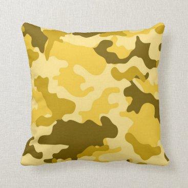 Yellow Camo Throw Pillow