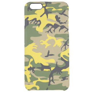 Yellow Camouflage Clear iPhone 6 Plus Case