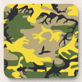 Yellow Camouflage Cork Coaster