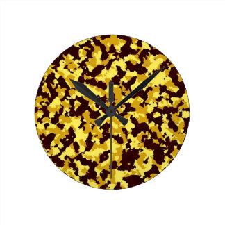 Yellow Camouflage Round Clock
