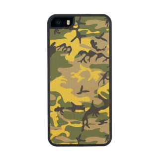 Yellow Camouflage Wood Phone Case For iPhone SE/5/5s