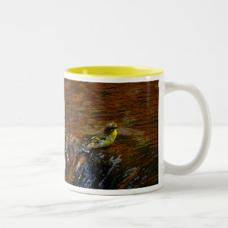 Yellow Canary bird bathing Two-Tone Coffee Mug