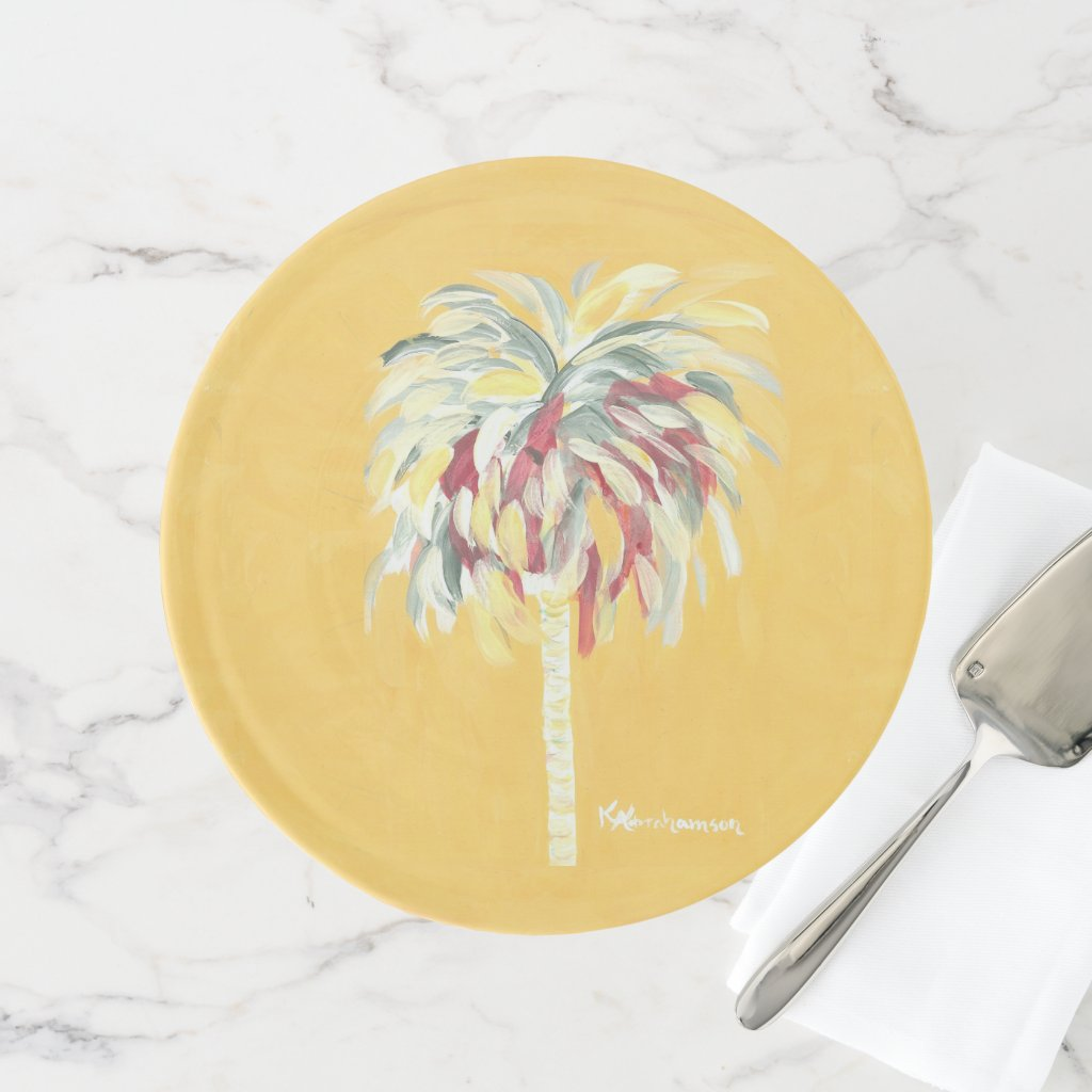 Yellow Canary Palm Tree Cake Stand