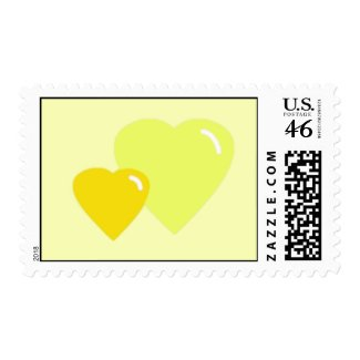 Yellow Candy Hearts Postage Stamps stamp