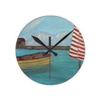 Yellow Canoe Large Round Clock