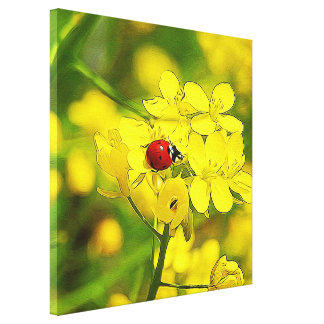 Yellow Canola Flower Good Luck Red Ladybug Canvas Print