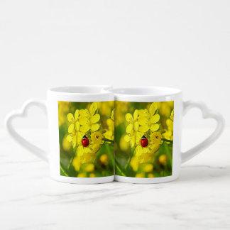 Yellow Canola Flower Good Luck Red Ladybug Coffee Mug Set