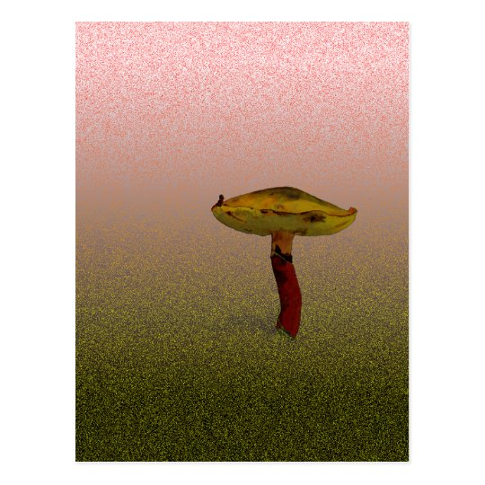 Yellow Capped Fungus Art Postcard