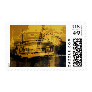 Yellow Car and Street Sign Postage