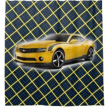 malhcreations Yellow Car on Blue, Green and Gold Plaid Shower Curtain
